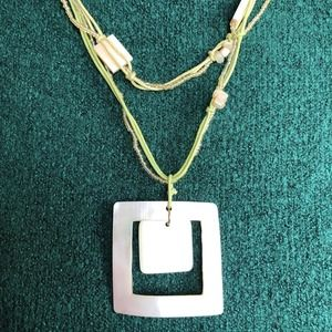"""20"""" Vintage VTG Seed Bead Shell Green Necklace"""